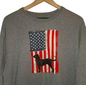 The Black Dog American Flag Long Sleeve T Shirt L